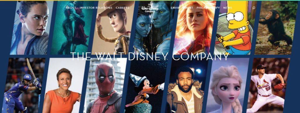 The Walt Disney Company Website Banner