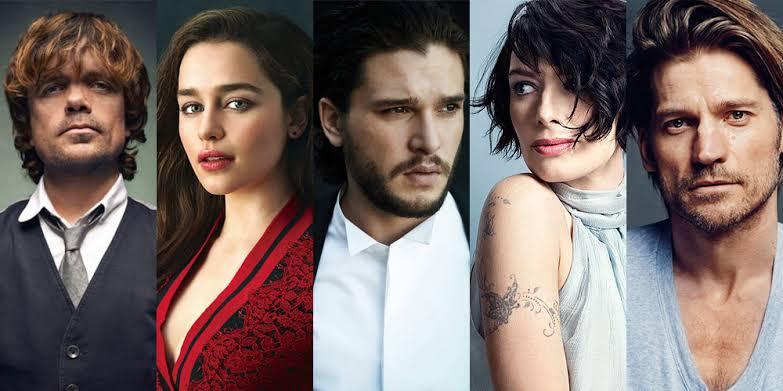 Lena Heady (Cersei Lannister), Peter Dinklage (Tyrion Lannister), Nikolaj Coster-Waldau(Jamie Lannister),Kit Harrington (Jon Snow) and Emilia Clarke (Daenerys Targaryen)