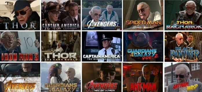 Stan Lee in various Marvel movie cameos