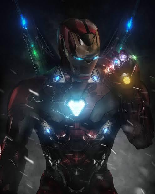 Tony Stark with the Infinity Gauntlet