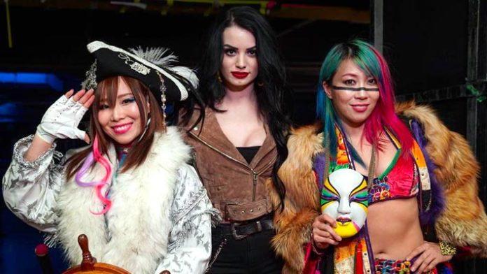 Paige with Asuka and Kairi Sane