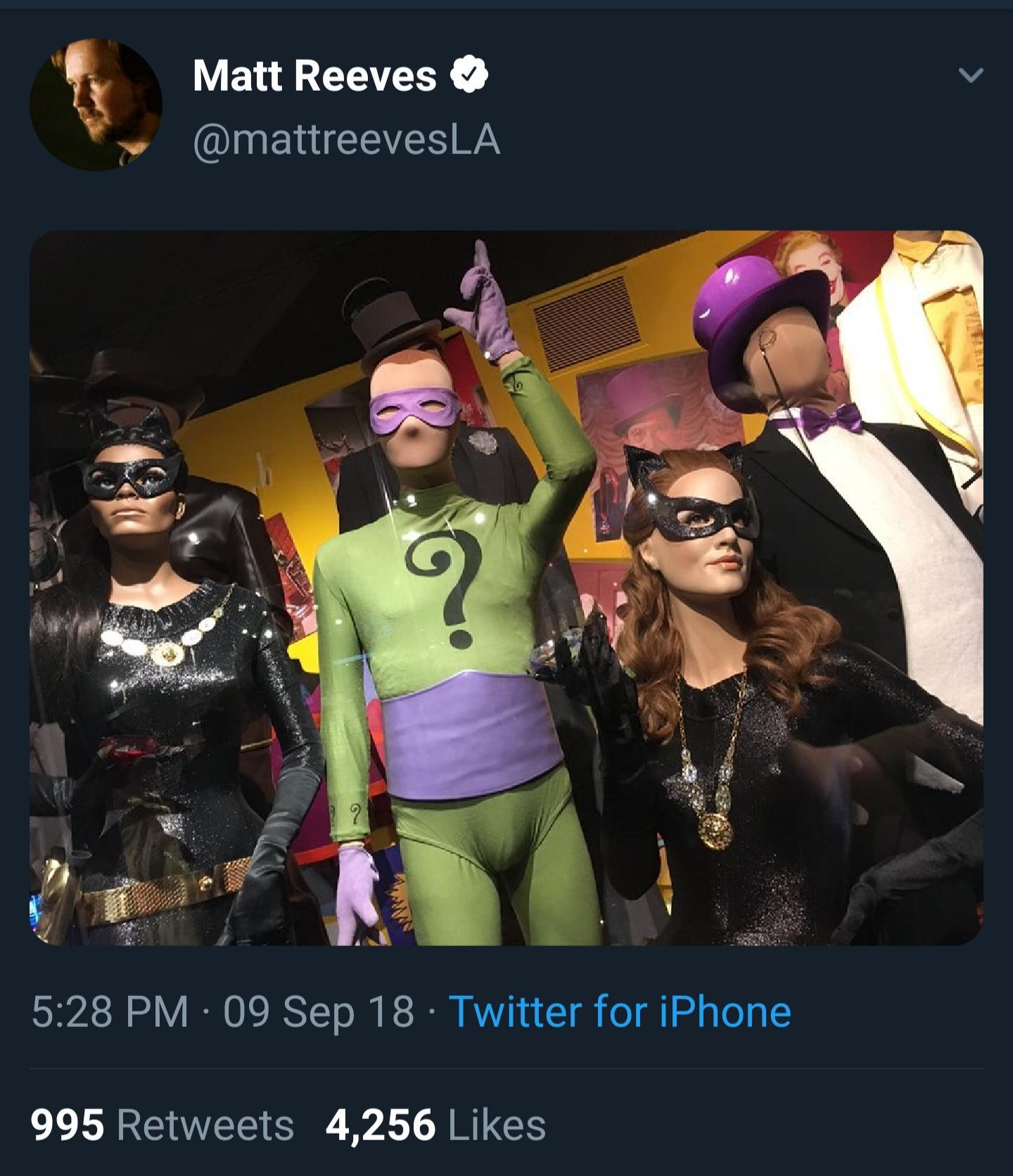 Matt Reeves tweeted this back in September 2018