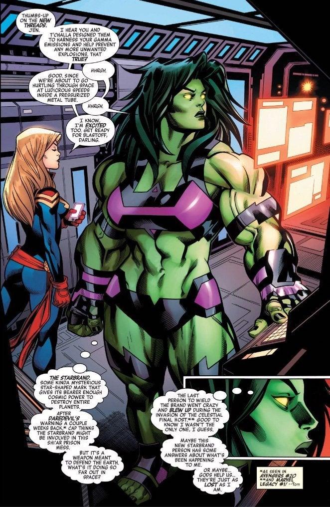 The image has She-Hulk sporting her new costume